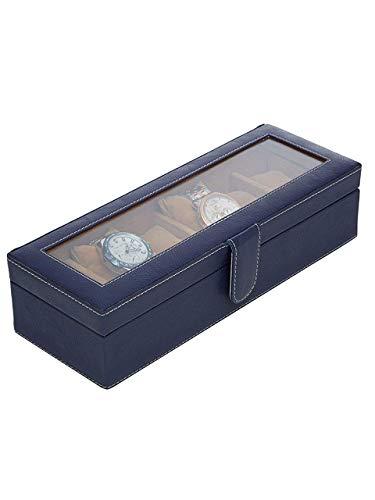 Leather World Watch Storage Box Display Case Organizer of Pu Leather Finish with Glass Window 6 Slot 30x8x11 cm
