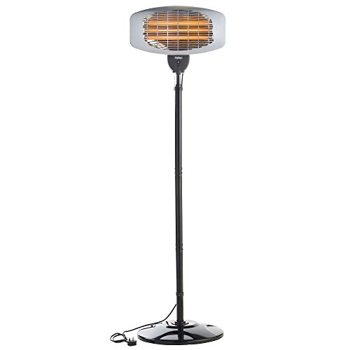VonHaus Electric Patio Heater 2000W Free Standing - Quartz Heating, Outdoor, Garden, Weatherproof Safety Rated to IPX4 - Height Adjustable with 3 Heat Settings & 45 Degree Tilt Angle