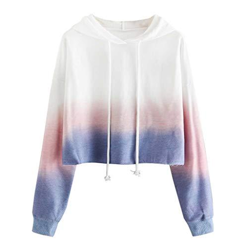 Xuthuly Frauen-Art- und Weisesteigungen färben reizendes Sweatshirt-Damen-beiläufige Lange Hülsen-Drawstring-mit Kapuze Pullover-einfache lose Überbrücker-Bluse