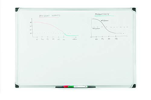 Bi-Office Lavagna Magnetica Bianca Maya Serie W, Con Cornice In Alluminio, Superficie Magnetica...