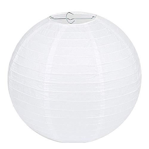"""LIHAO Lampenschirm Rund Weiß Papier Laterne Classic Bamboo Style Gerippter Lampenschirm Deko für Party Garten Hochzeit Dekoration (15 cm, 6\"""")"""