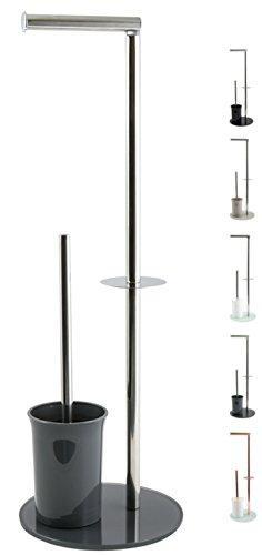"""MSV \""""Bergamo Stand WC Garnitur WC Bürste Rollenhalter Toilettenbürste Klobürste Klopapierhalter aus Edelstahl und Glas Grau 3in1"""