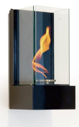 Vertical bioethanol fireplace in black, wall mounted bioethanol fire, elegant design, living flame