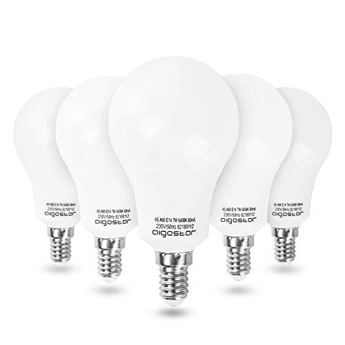 Aigostar - LED Lampadina E14, 7W (equivalenti a 60W), 560 lumen, Luce Bianca 6400K,Pacco da 5.
