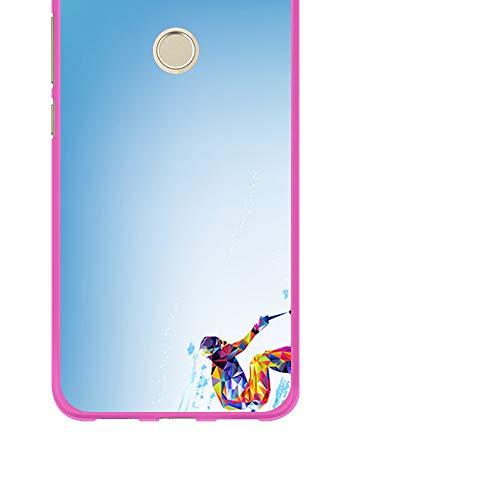 BJJ SHOP Custodia Rosa per [ Huawei P8 Lite 2017 ], Cover in Silicone Flessibile TPU, Design: Sci,...