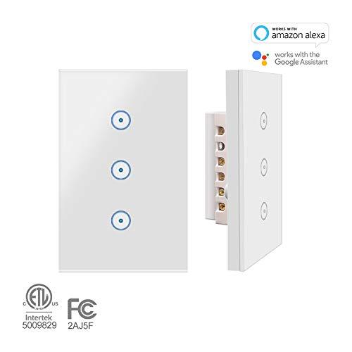 Applique da parete Jinvoo Smart Wi-Fi Touch US 3 pannello, Smart Timing Switch, telecomando con...