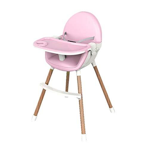 Legno Bambino Seggiolone, Multi-Functional Pranzo Sedia con Le Gambe Regolabili E Vassoio, Facile da Pulire, Sicuro, Stabile (Color : B)