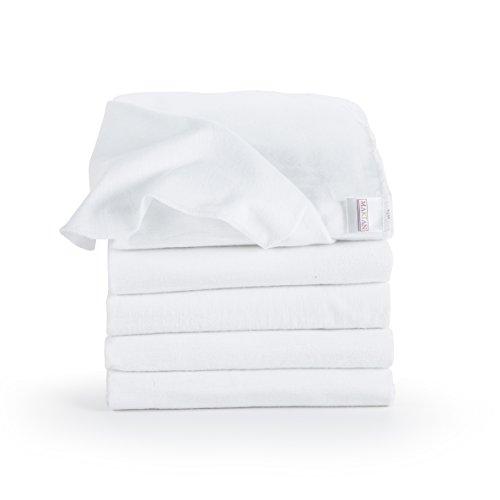 Panni in Mussola di Cotone Neonato - 5 pezzi - 80 x 80 cm - Qualità superiore - colore bianco, morbidi e avvolgenti, tessuto doppio, bordi rinforzati, Öko-Tex Standard 100, lavabili a 95° C