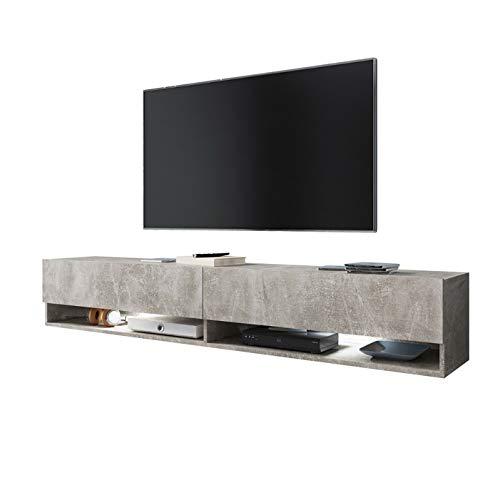 Selsey WANDER - Mobile TV Sospeso/ Porta TV Stile Moderno/ Tavolino TV per Soggiorno 180 cm/ Cemento...