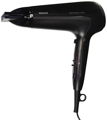 Philips HP8230/00 - Secador de pelo ThermoProtect de 2100W con ajuste óptimo del calor para evitar dañar el cabello, color negro