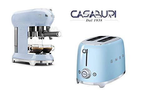 SMEG Set 2 Pezzi azzurro : Tostapane 2 scomparti lunghi + caffettiera espressa