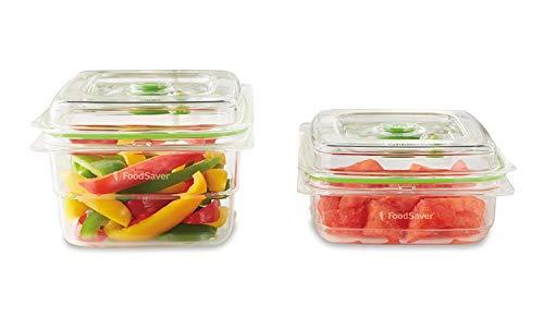 FoodSaver Set di 2 Contenitori Salva Freschezza Sottovuoto, 1 da 700 ml e 1 da 1.2 Litri, BPA Free, Indicatore del Vuoto, Trasparente