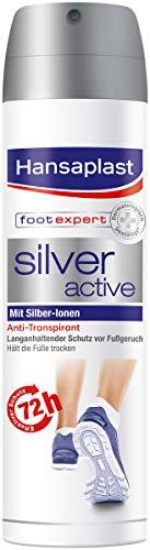 Hansaplast Silver Active Fußspray im 4er Pack (4 x 150 ml), Fußspray Antitranspirant mit 48h Schutz vor Fußgeruch und Schweiß, Aktiv-Komplex mit Silber-Ionen