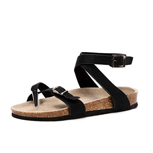 Sandali da Donna Estate Cuoio Elegante Casual Shoes Infradito Tacco Basso Peep Toe Cinturino alla...