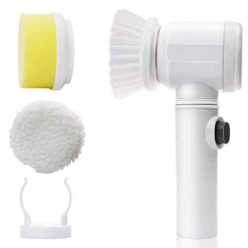 Vepson Electric Power 5 in 1 Scrubber Cleaning Brush for Kitchen Bathroom Tub Shower Tile Carpet Sink Drain Cleaner (White, 5-inch)