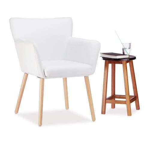Relaxdays Sedia Imbottita Design, Fodera in Tessuto, Morbida e Comoda poltroncina HxLxP 84 x 62 x 56 cm, Bianco