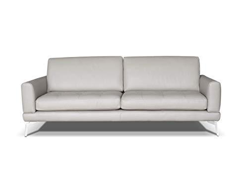 Marchio Amazon -Alkove, divano in pelle modello Modena, stile moderno, 3 posti 'plus', minerale