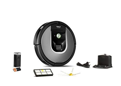 31CE2hS89%2BL [Bon Plan Neato] iRobot Roomba 960, aspirateur robot avec forte puissance d'aspiration, 2 brosses anti-emmêlement, idéal pour animaux, capteurs de poussière, parfait sur tapis et sols, connecté, programmable via app