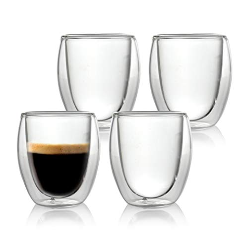 Caffé Italia Roma 4 x 60 ml Bicchieri Termici con Doppio Vetro - per Espresso Bevande Calde e...