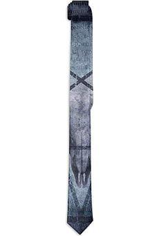 Corbata floral estampada para hombre, obra de arte con icono de pentagrama Cráneo de cabra Diablo Sueño Figura con…