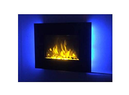 TruFlame 2019 7 COLOUR CHANGING LED WALL MOUNTED ELECTRIC FIRE FLAT GLASS