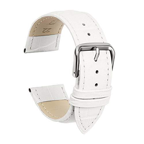Ullchro Cinturino Alta qualità in Vera Pelle Cinturini Orologi Accessori Bordatura Cucita - 12,14,16,18,19,20,21,22,24 mm Cinturino Orologio con Fibbia Dell'acciaio Inossidabile (12mm, bianco)