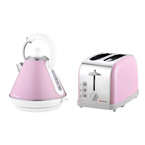 Set di bollitore elettrico e tostapane, acciaio inossidabile - Rosa