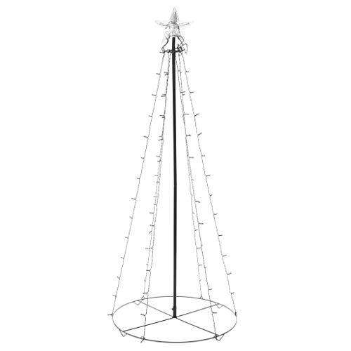 vidaXL Albero di Natale a Cono con 96 LED per Interni Esterni con Adattatore Luminoso Decorazione Natalizia 72x120 cm Luce Bianco Caldo