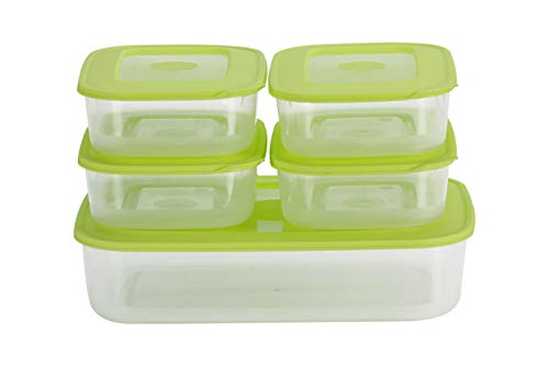 All Time Basic Plastic Container Set, 5-Pieces, Green