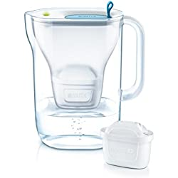 BRITA Style - Jarra de Agua Filtrada con 1 Cartucho MAXTRA+, Filtro de Agua BRITA que Reduce la Cal y el Cloro, Agua Filtrada para un Sabor Óptimo, Tapa del Filtro, Color Azul