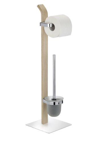 WENKO Stand WC-Garnitur Samona Nature, WC-Bürstenhalter, Stahl, 20 x 71.5 x 20 cm, chrom