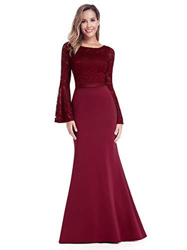 Ever-Pretty Vestito da Cerimonia Donna Sirena Manica a Tromba Pizzo Stile Impero Lungo Borgogna 46
