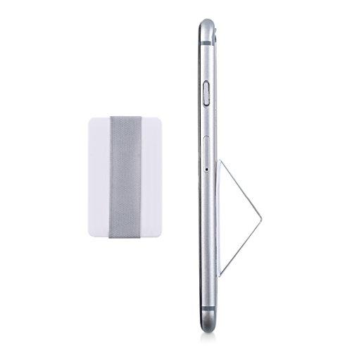 kwmobile Slim Smartphone Fingerhalter Griff Halter - Selbstklebende Handy Fingerhalterung Finger Halter für z.B. iPhone Samsung Sony Handys Weiß