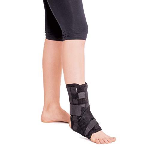 Knöchelbandage mit 5 Verstärkungen am linken oder rechten Bein X-Large Schwarz