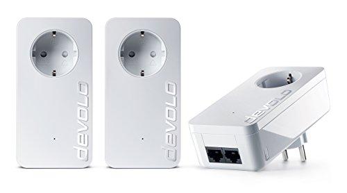 devolo dLAN 550 duo+ Network Kit Powerlan Adapter (3 Adapter im Set, 2x LAN Port, Kompaktgehäuse, Netzwerk, Powerline, einfaches LAN Netzwerk aus der Steckdose) weiß