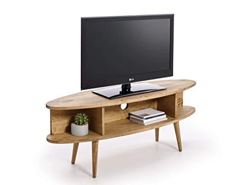 HOGAR24 ES Mobile TV Design Vintage Ovale con Ripiani, Finitura Legno Naturale Cerato. Dimensioni:...