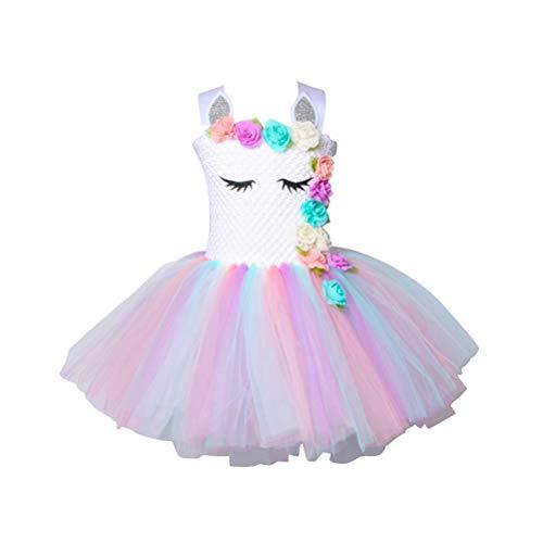 TENDYCOCO Unicorn Tutu Dress per Ragazze Bambini Birthday Party Unicorn Costume Outfit per 7-9 Anni