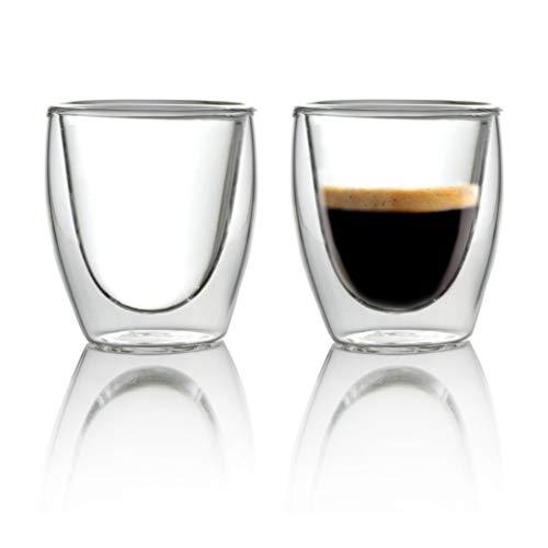 Caffé Italia Torino 2 x 60 ml Bicchieri Termici con Doppio Vetro - per Espresso Bevande Calde e Fredde - Lavabile in lavastoviglie