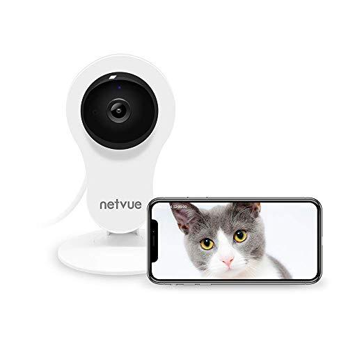Telecamera di Sorveglianza Senza Fili, NETVUE Full HD IP Camera WiFi con Allarme Rilevazione di Movimento, Zoom 8X, Visione Notturna, Audio Bidirezionale, Videocamera Interno Compatibile con Alexa