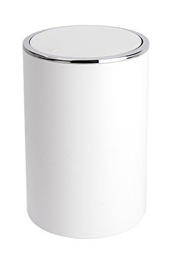 Wenko 22554100 Schwingdeckeleimer Inca White, Kosmetikeimer, Mülleimer, Fassungsvermögen: 5 l, Acrylnitril-Butadien-Styrol (ABS), 18.5 x 25.5 x 18.5 cm, weiß