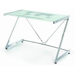 Due-home Mesa de ordenador mesa pc diseño moderno, cristal y metal