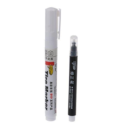 huiouer Permanent Reifenmarkierstift für Auto-Reifen und Motorradreifen 1 Set Weiß. 1