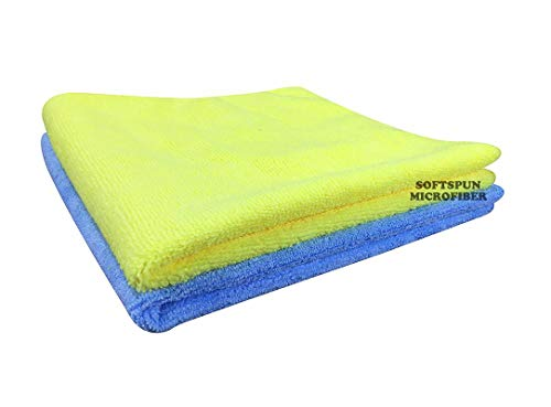 SOFTSPUN Microfiber Cloth - 2 pcs - 40x40 cms - 340 GSM Multi Color - Thick Lint & Streak-Free Multipurpose Cloths - Automotive Microfibre Towels for Car Bike Cleaning Polishing Washing & Detailing