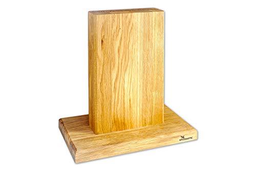 Woodastic Messerblock | magnetisch | Eiche, Nussbaum, Buche, Fichte | Made in Germany | Neu | Messerhalter | Messerständer | sichere Messeraufbewahrung (Eiche)