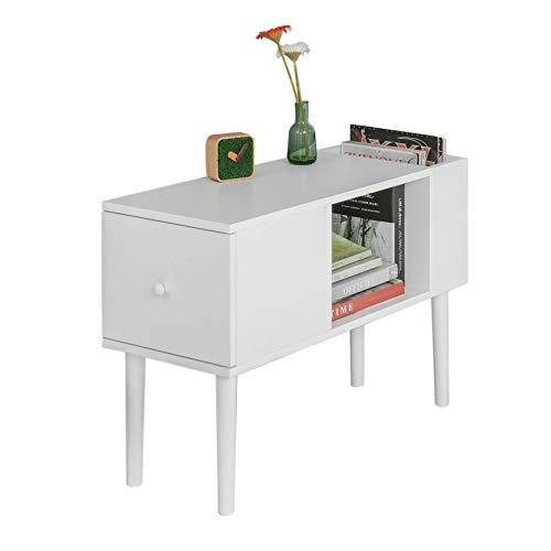 SoBuy Tavolino da Divano Mobiletto Soggiorno con cassetto,Bianco, L28*P75*A51 cm, FBT60-W