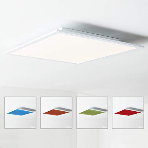LED Panel Deckenleuchte 60x60cm, RGB Farbwechsel, Fernbedienung, 1x 40W LED integriert, 1x 4000 Lumen, 2700-6500K, Metall/Kunststoff, weiß