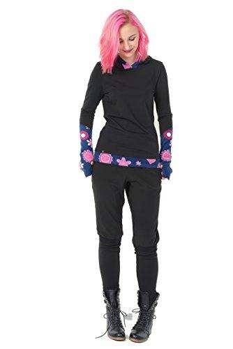 Winter Kapuzenpullover Hoodie Damen schwarz Herbst Kleidung Daumenloch Mode 3 Elfen Kapuzenpulli Frauen schwarz pink Lady XS