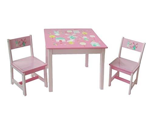 Style home 3tlg. Kindersitzgruppe Kindertisch mit Stühle Holz Sitzgruppe für Kinder Mädchen und Jungen Kindermöbel Set (Rosa)