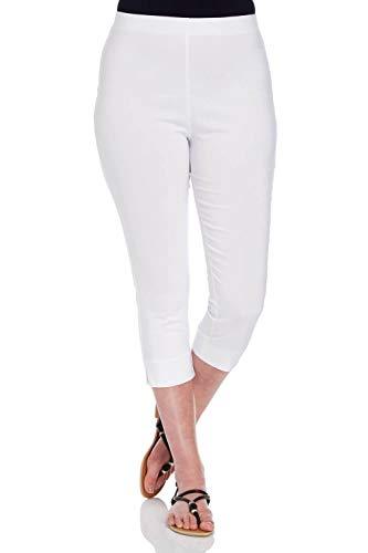 Pantalone Capri donna Pantalone - Pantalone sigaretta donna ritagliata elastico raccolto - Bianco
