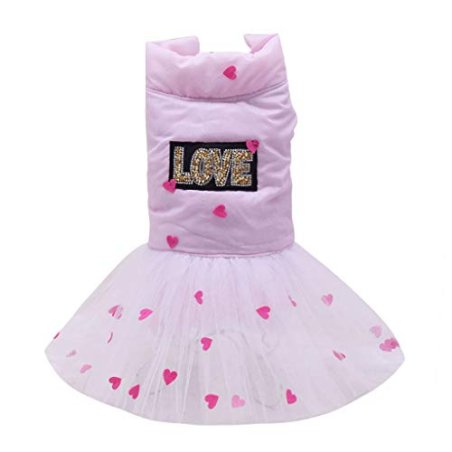 Lazzboy Vestiti Animale Domestico Cucciolo Estate Camicia Piccolo Cane Gatto Gilet Gonna Maglietta Tutu T-Shirt Top Gonna da Principessa per Cane Abito da Sposa(XXL,Rosa)